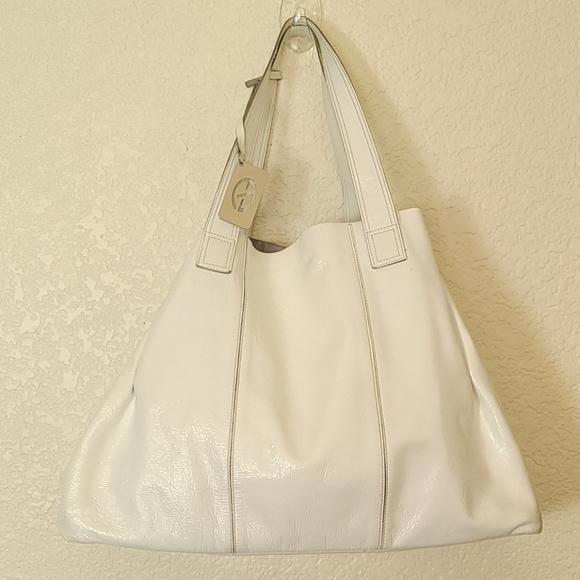 Francesco Biasia large white leather bag